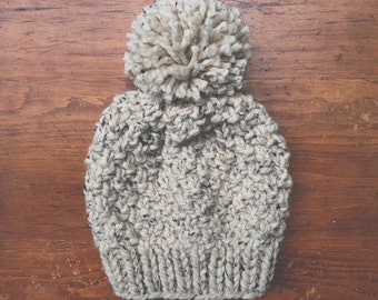 the Redwoods hat - chunky knit textured slouchy style hat in marled oatmeal with jumbo pompom