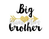Big Brother with Gold Arrow and heart DIY Iron On Transfer Digital Image for Shirt MOD Outfit Tribal Clothes