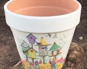 DECOUPAGED FLOWER POTS / Bird Planter / Shabby Chic Pot / Terracotta Vase / Bird Cage Pot / Garden Decor / Clay Planters / Succulent Planter