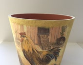 ROOSTER CLAY POT / Decoupage Ceramic Pot / Gift Clay Pot / Garden Clay Vase / Rooster Pot Decor / Country Decoupage Style Clay Pot