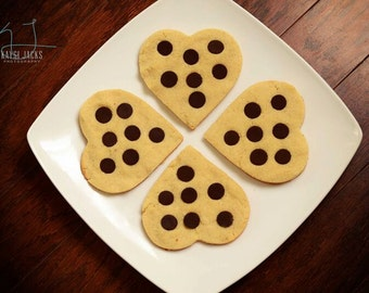 18 BIG Heart Shaped Cookies with Dark Chocolate Chips, With or Without Walnuts (Low Carb, Sugar Free, Gluten Free, Grain Free)