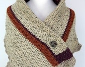 Autumn Spice - Superfine Alpaca and Merino Shoulder Wrap / Capelet / Shawl studded with Donegal Tweed