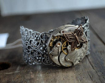 Beautiful Silvertone Filigree Cuff Bracelet with Antique Etched Pocket Watch Movement Antique Gold Toned Butterfly Unique & One Of A Kind