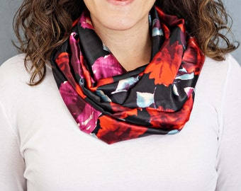 Black and Red Rose Print Silky Infinity Scarf