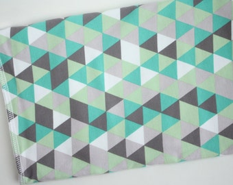 Mint and Grey Triangles Baby Blanket | Swaddle Blanket | Gender Neutral Baby Blanket & Hat Gift by JuteBaby