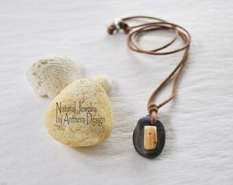 Natural jewelry - river stone - unique necklace - organic - urban- zen