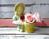 Vintage Shawnee Pottery Girl Planter Flower Vase Mid Century 1950s Collectible Home Decor
