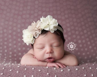 Baby Halo, Floral Halo, Baby Headband-  Ivory and Cream Floral Halo with Pearls and rhinestones Photography Prop Baby Headband