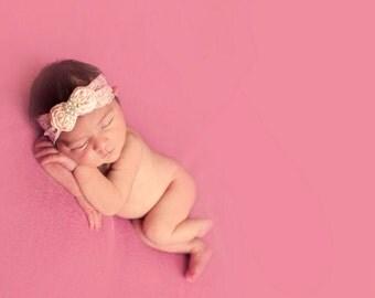 Pink headband, Lace headband, Baby Headband- Baby Pink Rosette Pearl Vintage Headband on Pink Lace