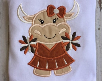 Longhorns shirt, longhorn cheerleader shirt, girls longhorns shirt, girls Bevo shirt, texas longhorn shirt