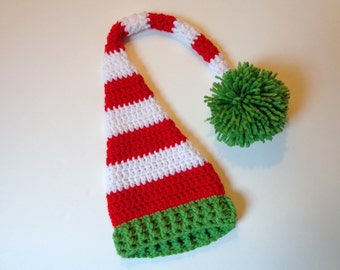 Newborn Crochet Elf Hat Santa Hat Photo Prop Baby Boy or Girl