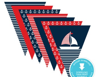 Nautical Banner - Nautical Bunting Banner - Nautical Birthday - Nautical Baby Shower - Anchor - Sail Boat - Navy and Red - Instant Download