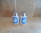 Vintage milk glass S an P shakers with blue morning glory flower.use coupon code GOTTOGO for30% off