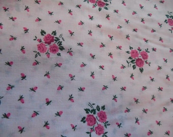 Cotton Fabric pretty pink flower print