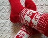 Reindeer -Mens womens girl/boys Handknit Wool boot socks Warm Cosy Winter ski hiking socks Red White Handmade in Finland