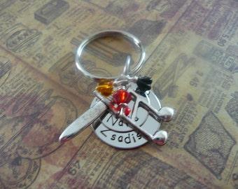 Black dagger brotherhood Zsadist keychain, hand stamped metal, J R Ward, Lover Awakened