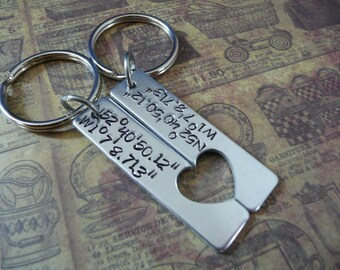Hand stamped GPS coordinates, couples keyring set, personalise