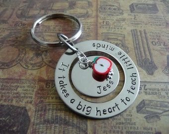 Teacher thank you gift, hand stamped metal keychain, personalise with message and name
