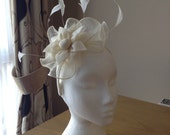 Ivory Cream Fascinator and Feather Fascinator on a hairband, races, weddings, special occasions, Ascot, Mother of the Bride