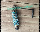 Beaded Micro Stylus, headphone jack, caribbean blue, metal core, replaceable tip, cell phone accessory, iPad accessory, ,