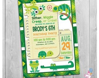 Reptile Invitation, Reptile Birthday Invitation, Reptile Birthday Party Invite, Printable