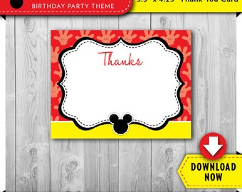 Mickey Mouse Thank You Card   Printable   Mickey Birthday Party Thank You Cards   Instant Download   Invitation & Decorations in our shop