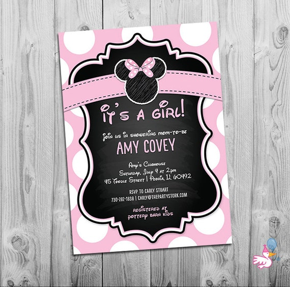 minnie mouse baby shower invitation printable baby shower chalkboard