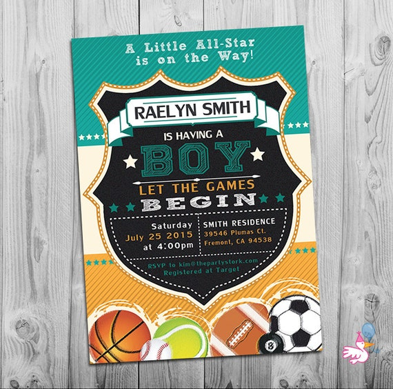 sports baby shower invitation | printable all star party, Baby shower invitations