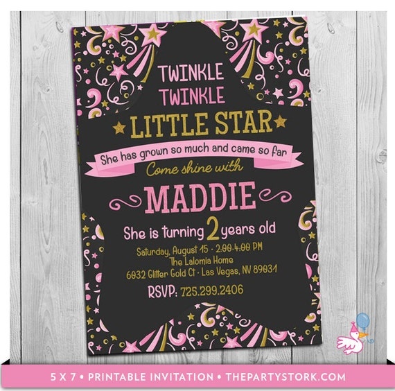 Twinkle twinkle little star first birthday invitation 2nd or 1st il570xn filmwisefo Choice Image