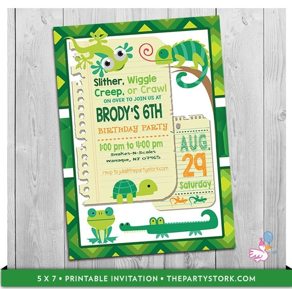 Reptile Invitation Reptile Birthday Invitation Reptile Birthday