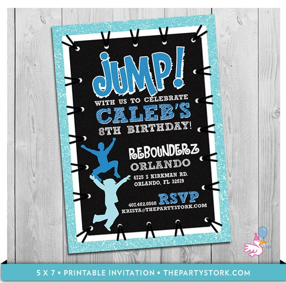 Trampoline party invitation custom printable boys jump birthday il570xn filmwisefo