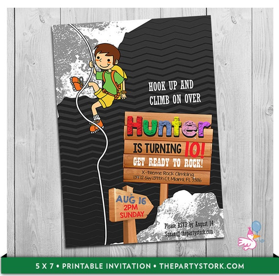 Rock Climbing Invitation Rock Climbing Birthday Party Invitations