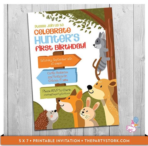 Woodland Invitation: Printable Boy First 1st Birthday