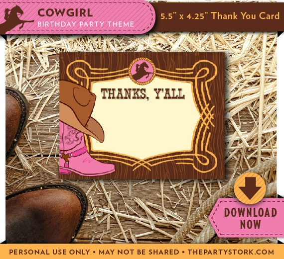Cowgirl Thank You Card Printable Cowgirl Birthday Party