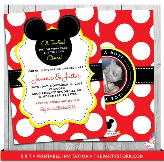 mickey mouse baby shower invitations unique mickey mouse themed, Baby shower invitations