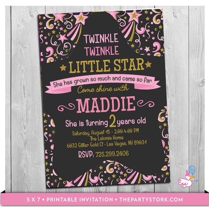 Twinkle Twinkle Little Star First Birthday Invitation 2nd Or