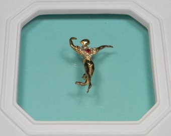 Vintage Figural Rhinestone Dancer Brooch or Pin, Gold Tone, Male, Just Reduced
