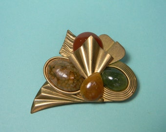 Modern 80s Frosted Gold Tone and Stone Brooch or Pin, Green and Cinnamon