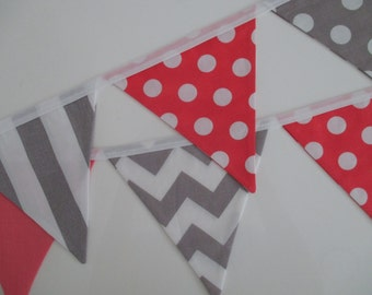 the amelia - coral, white & grey chevron, spot, stripe fabric flag bunting banner