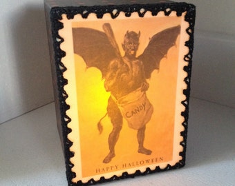 Halloween Light Box Ornament with Vintage Daemon Trick or Treater Illustration
