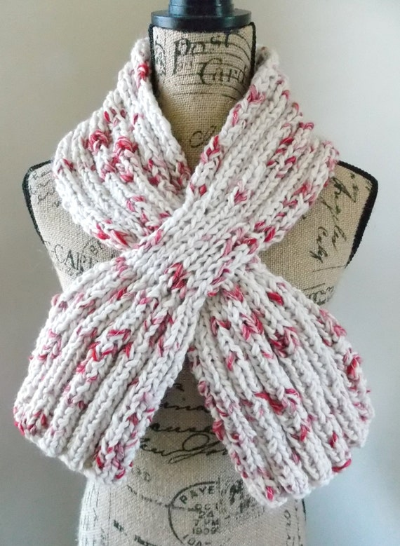 Knitting Pattern For Slip Through Scarf : Raspberry and Cream Keyhole Scarf slip through ascot scarf