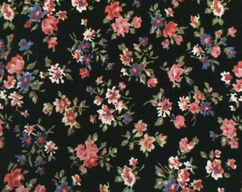 Cotton Fabric / Floral Cotton Fabric / Black Floral Fabric  / Pink Floral Fabric / Black and Pink Floral / 1980's Floral Fabric / Peter Pan