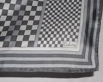 Vintage ECHO, Echo Silk Scarf, Echo Silk Wrap, Grey Checks Pattern