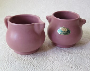 Rosemeade North Dakota Art Pottery Vintage Rose Sugar Creamer Lug Handle Original Label
