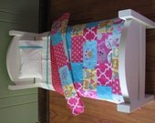 """Pink / Blue American Girl/18"""" doll sized Quilt Bedding Set"""
