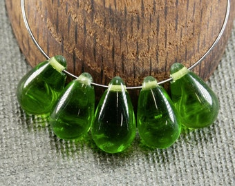Green Teardrop beads 10pc 15mm | Large green teardrops | Czech glass teardrop beads | Tear drop beads last