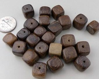 Mixed dark brown wood cube bead - 40 pcs.  10 mm.