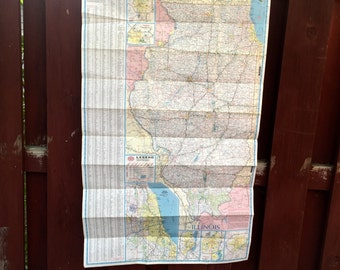 Vintage Paper Road Map of Illinois and Indiana / Double Sided AAA Map / Old Map of Illinois and Indiana