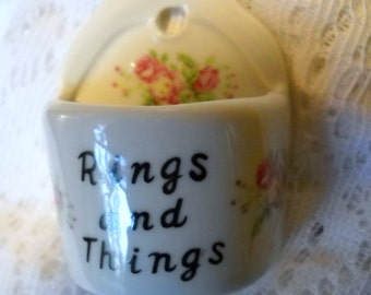 Vintage China Ring Holder, Rings and Things, Hanging Ring Box, 1970's Bone China Ring Dish, Jewelry Holder