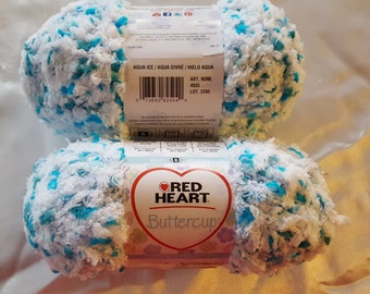 Red Heart BUTTERCUP Yarn OVERSTOCK - 63 Yards Cuddly Soft Aqua Ice Baby
